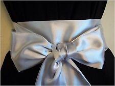 """3.5 """"X85"""" ARGENTO GRIGIO RASO Sash Belt Self TIE Bow per WEDDING Prom abito da party"""