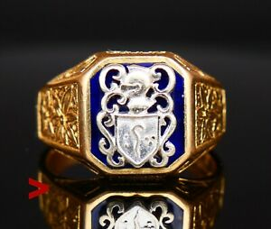 Vintage Italian Men Signet Ring Enamel solid 18K Gold Platinum US 11.5 / 12gr