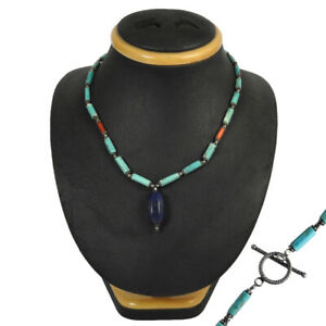 Baguette Shape Lapis Lazuli Turquoise Coral Jewelry Silver Ethnic Necklace K9
