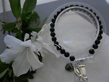 Hope Bracelet W/Ribbon Charm/Heart Melanoma Cancer Awareness Beaded
