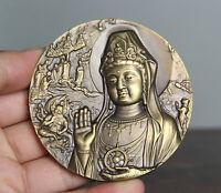 """3.4"""" Old Chinese Copper Feng Shui Kwan-Yin Guan Yin Goddess Bust Pendant Amulet"""