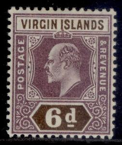 BRITISH VIRGIN ISLANDS EDVII SG59, 6d dull purple & brown, M MINT.