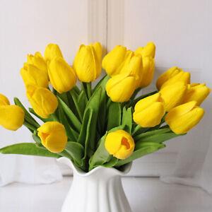 10PCS TULIP FLORAL ARRANGEMENT ARTIFICIAL FLOWER LATEX SILK ORANGE TULIPS.