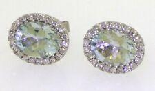 14K white gold 3.94CTW diamond & 8 X 6mm Oval cut aquamarine Halo stud earrings