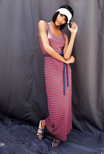 Boden Sleeveless US Szie 20 L Purple Coral Striped Maxi Jersey Dress WH516