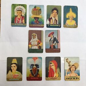 10 vintage COLES CARDS swap cards WORLDWIDE PEOPLE & CULTURES Maid of Athens OLD