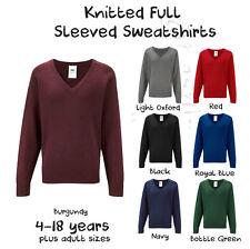 Boys Girls School Jumper Knitted Sweatshirt V Neck Ages 4-18 + Adult Sizes