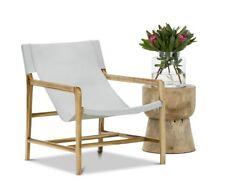 Coastal Sling Armchair GREY Solid Teak Wood Timber Leather Leisure Living Room
