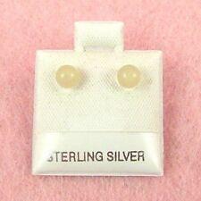 Sterling Silver - 4mm Yellow Jade Earrings (SE108)