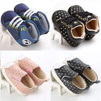 Toddler Newborn Baby Girls Boys Canvas Soft Crib Sole Sneakers Prewalker Shoes