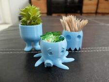 SET OF 3 CUTE SKY BLUE CONTAINERS PLANTER TOYS BELLY LEGS OCTOPUS PAC MAN GHOST