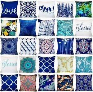 "Velvet Cushion COVER Navy Blue Boho 2-Sided Decorative Throw Pillow Case 18x18"""