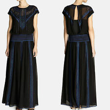 KAREN MILLEN Silk Black Embroidered Beaded Long Maxi Cocktail Party Dress 10 UK