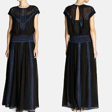 Vestido de fiesta KAREN MILLEN Seda Negro Bordado Vestido Con Cuentas Largo Maxi cóctel 10 Reino Unido