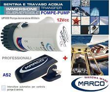 MARCO UP1000 POMPA SENTINA IMMERSIONE 12V 63l/min +INTERRUTTORE AUTOMATICO BARCA