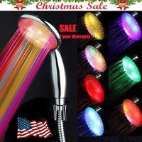 LED Bath Shower Head 7 Color Super High Pressure Boosting Water+Filter Plug HOT