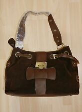 NWT Large Brown Velor  metal accent bag