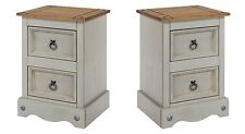 PREMIUM Corona Grey Washed-Effect Solid Pine 2 Drawer Bedside Cabinets Pair x2