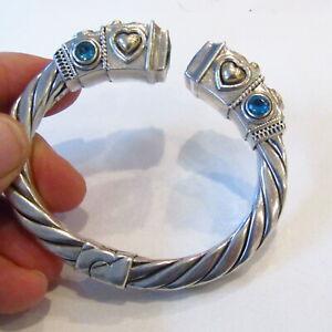 14k Gold Sterling Silver Bracelet 925 Vintage Hinged Peridot Amethyst Topaz 61g
