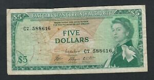 EAST CARIBBEAN STATES  5  DOLLARS ( 1965 )  PICK # 14g  VG-F.