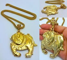 "14K GOLD FILLED 4mm 36"" STAINLESS STEEL FRANCO CHAIN W/ BULLDOG PENDANT NECKLACE"