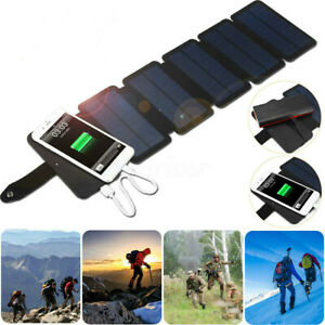 Portable Cell Phone Charger Panel Solar Power Bank Waterproof Outdoor Camping