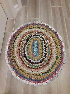 Handmade Crochet Fabric Area Rag Rug Mat Traditional Multicolor  27 X 24
