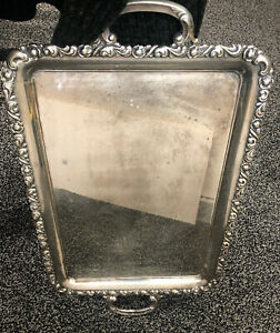 """Alpacca Serving Tray Large Handled Silver Platter 26"""" Rose Pattern Heavy 50's"""