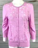 Ann Taylor Women's Pink Button Lace Front Cardigan Sweater Size Large EUC A6118