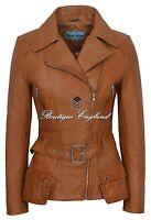 Ladies Fashion Leather Jacket Tan Vintage Biker Style 100% REAL LEATHER 2812