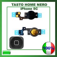 TASTO HOME BUTTON COMPLETO FLAT FLEX APPLE IPHONE 5C BOTTONE NERO BLACK