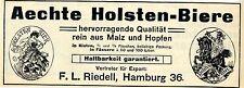 Aechte Holsten- Biere F. L. Riedell, Hamburg Fabrikmarken Histor. Werbung 1912