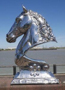 Stainless steel sculpture Horse head bust equestrian garden sculpture