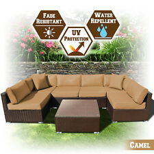 7PC Patio Garden Rattan Wicker Sofa Furniture Set w Cushions No Assembly Require