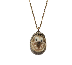And Mary  Ceramic Tiny Hedgehog on Antique Brass Chain
