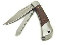 Coltello Tascabile Fox 589 manico legno 2 usi doppia Lama Liscia e Seghettata