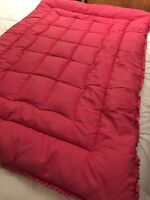 """VINTAGE PRELOVED EARLY 20TH C FEATHER EIDERDOWN DUVET RED/PINK 43""""X 62"""" RUFFLED"""