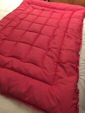 """Vintage preloved Early 20TH C Feather Édredon Couette Rouge/Rose 42""""X 62"""" à volants"""