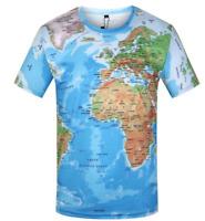 New world map Graphic Full Print Tee 3D T-shirt Men Women Style Size S - 7XL