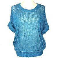 Chico's Womens Sweater Size 1 Medium Size 8 Teal Blue Open-Weave Short-Sleeve