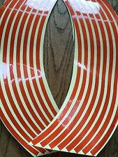 16 Orange Wheel Rim Reflective Stickers Stripe Motorbike Safe Motorcycle Bike