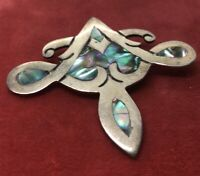 Vintage Sterling Silver Brooch Pin 925 Modernist Taxco Abalone Shell AA