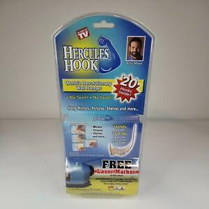 NEW Sealed Package of 20 Hercules Hooks Wall Picture Hangers BONUS Laser Marker