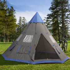 Outsunny 6-7 Person Large Family Party Camping Tent W/ Carrying Bag, Mesh Window