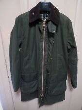 BARBOUR- A200 BORDER WAXED COTTON JACKET- SAGE-MADE IN ENGLAND-SIZE 36