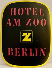 Luggage Label ~ Hotel Am Zoo Berlin GERMANY ~ Large Letter Z Abstract Design