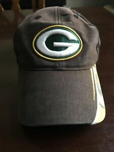 Green Bay Packers Cap Hat NFL Team Apparel Adjustable Back Brown Embroidered