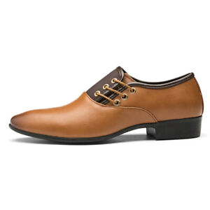 Mens Mixed Colors Faux Leather Pointed Toe Dress Suit Oxfords Shoes Casual Plus