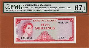 Jamaica 5 Shillings 1960 (1964) QEII Pick-51Ac Gem UNC PMG 67 EPQ HIGHEST Graded