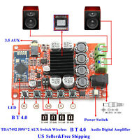 TDA7492 50W*2 AUX Switch Wireless B T 4.0 Audio Digital Amplifie Board US